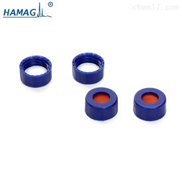 HM-07222ML样品瓶盖垫9MM蓝色螺纹开口盖PTFE硅胶垫