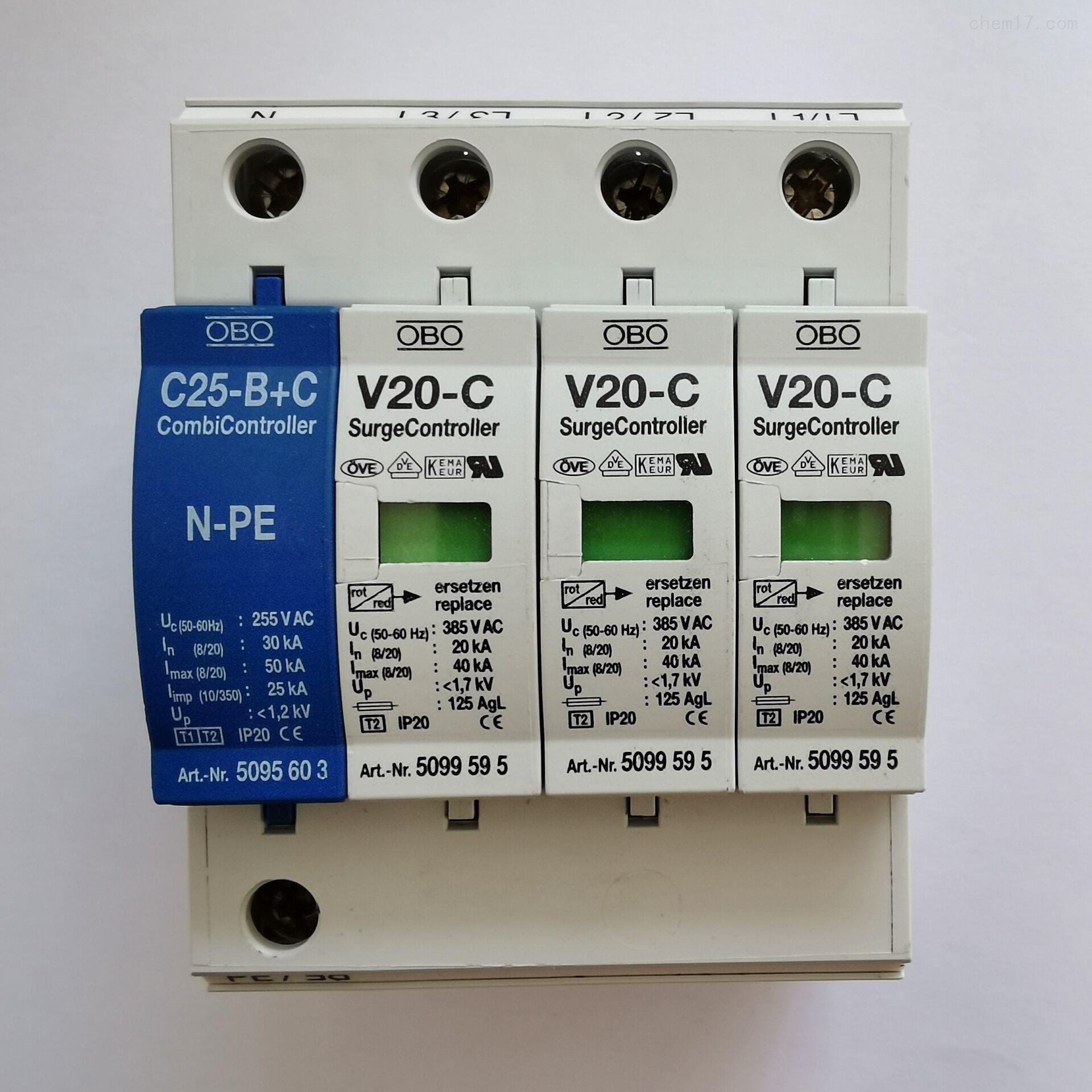 OBO防雷器V20-C/3+NPE+FS-385V浪涌保护器