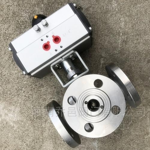 Q645F气动不锈钢三通球阀